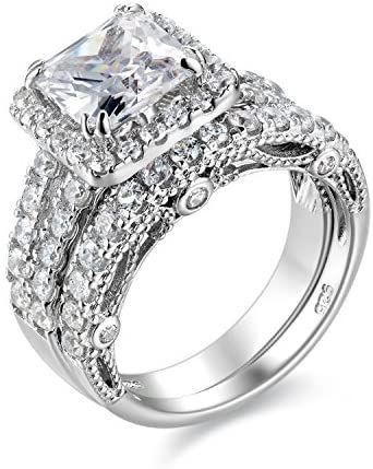Wuziwen 4ct Engagement Ring For Women Sterling Silver Cubic Zirconia Wedding Cubic Zirconia Wedding Bands Womens Engagement Rings Cubic Zirconia Wedding Rings