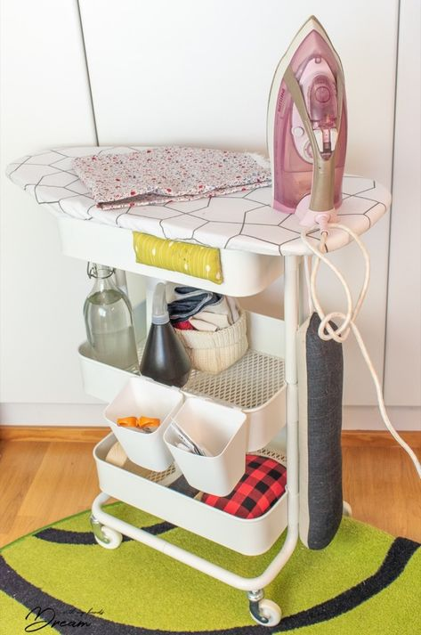 Ironing board on wheels: Your sewing room needs this - IKEA Hackers - Home Decor -DIY - IKEA- Before After Sewing Desk, Sewing Room Storage, Sewing Spaces, Sewing Room Organization, My Sewing Room, Craft Room Storage, Small Sewing Space, Ikea Sewing Rooms, Ironing Board Storage