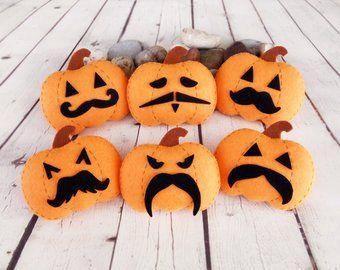 Pumpkin Halloween Decor Halloween Gift Felt Pumpkin Toy Mustache Autumn Decorations Halloween Ornament Orange Pumpkin Halloween Pumpkin Gift