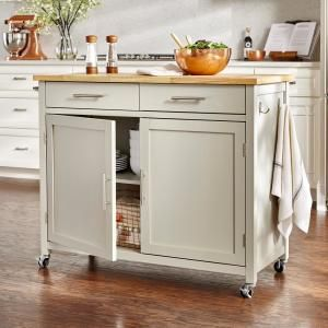 Stylewell Glenville Grey Kitchen Cart With 2 Drawers Sk17787cr2 Ebg The Home Depot White Kitchen Cart Kitchen Design Kitchen Remodel