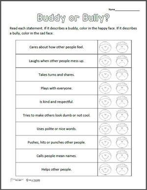 Free Printable: Buddy or Bully? Worksheet   Free printable, Free ...