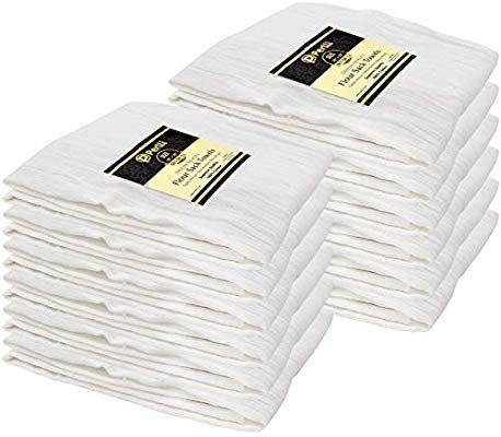 Perlli Flour Sack Towels 12 Pack Bulk 100 Cotton Kitchen White Dish Towels Highly Absorbent White Tea Towels Dish Towels Flour Sack Kitchen Towels