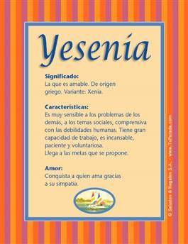 Nombre Yesenia Significados De Los Nombres Nombres De Niñas Nombres