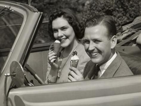 Couple Eating Ice Cream in Car' Photographic Print - George Marks   Art.com  in 2020   Eating ice cream, Photographic print, Couples