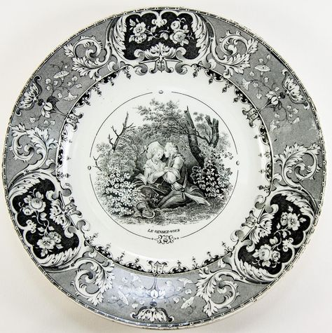 Set: 6 Antique Cabinet or Dessert Plates, French Story Plates, B&W, from antiques-uncommon-treasure on Ruby Lane