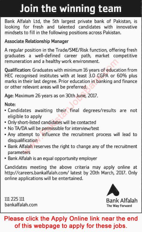 Associate Relationship Manager Jobs in Bank Alfalah 2017 March - chief executive officer job description