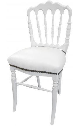 Chaise De Style Napoleon Iii Simili Cuir Blanc Et Bois Blanc Simili Cuir Cuir Blanc Chaises De Table A Manger