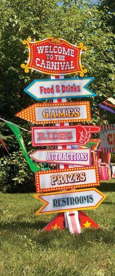 Big Top Directional Sign Point the way to food, fun and games at your carnival event! This carnival decoration is big time fun. Carnival Themed Party, Carnival Wedding, Carnival Birthday Parties, Circus Birthday, Carnival Theme Crafts, Circus Party Games, 1st Birthday Party Themes, Kids Party Themes, Event Themes