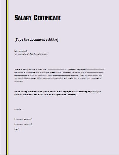 20+ Salary Certificate Formats | Free Word & PDF | Templates
