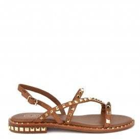 90fb9dcb3c1f Ash PEACE Sandals Brown Leather & Gold Studs | Fashion Page | Brown ...