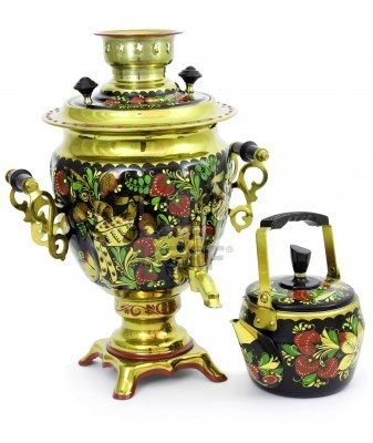 Photo about Russian samovar painted in folk style. Image of isolated, colored, russian - 17390586