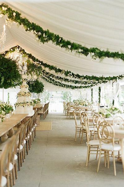 Gorgeous Draped Greenery In The Wedding Tent