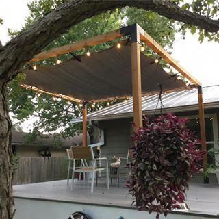A 12x12 Pergola Kit Well Situated On The Back Deck Of This Texas Home Looks Great With Those Incandescent Lights Thanks Pergola Plans Outdoor Pergola Pergola