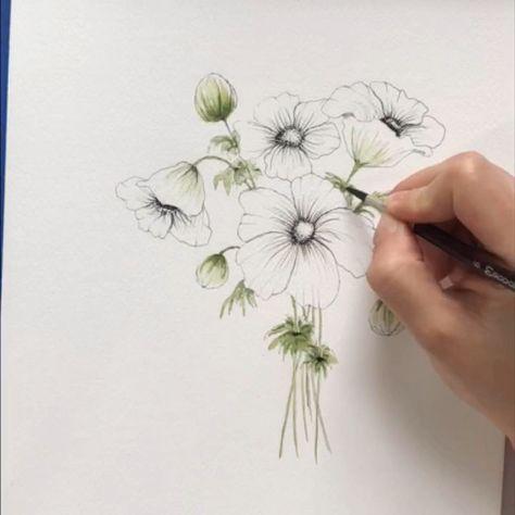 Aquarell Blumengrafik Blumenzeichnung Blumen Aquarell Blumen Kunst