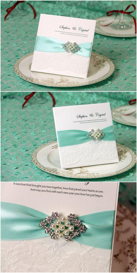 Romantische Tiffany Blue Einladungskarten für Hochzeit 2016   Hochzeitsblog Optimalkarten