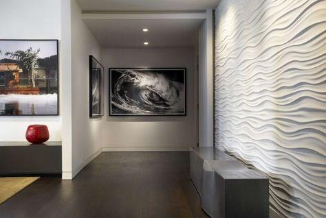 wandgestaltung dekorative 3d paneele weiß wellenmuster im flur