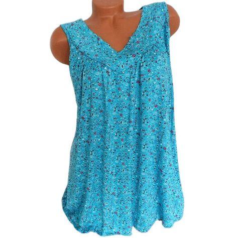 Summer Loose Sleeveless Long Tank T-Shirt V-Neck Home Sleepwear Ladies Tops Floral Print Fashion Women Sexy Casual Vest Tees - Sky Blue / XXL