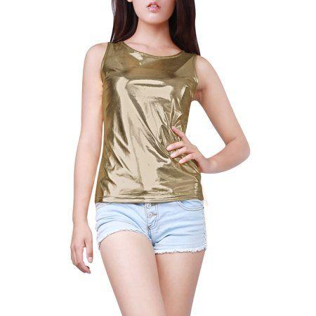 e027eef43361d Woman U Neck Stretch Slim Fit Metallic Tank Top Light Gold XL ...