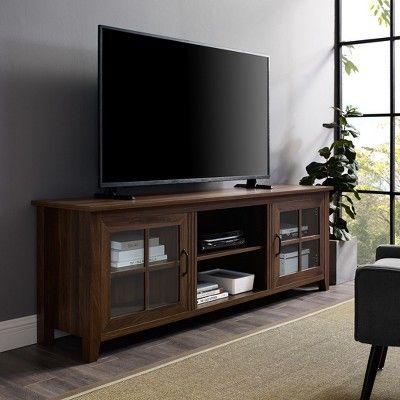 70 Farmhouse Wood Glass Door Tv Stand Dark Walnut Saracina Home Saracina Home Wood Glass Door Tv Stand Wood
