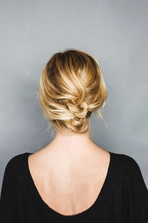 soft and pretty short hair updo