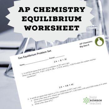 AP Chemistry Equilibrium Worksheet | Chemistry Lessons