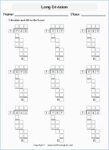 Free Beginning Long Division Worksheet Boxes For Students To