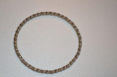Vintage Sterling Silver Twisted Rope Design Bangle Bracelet N102