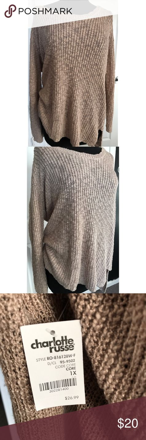 6ec36f1d38d Plus Size Slouchy Tan Sweater This sweater would be great to pair with a  pair of tall boots for the cool fall weather! It s lightweight and hangs  slightly ...