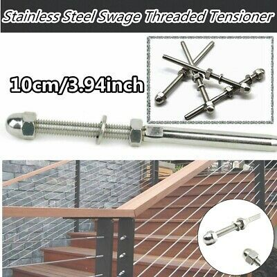 T316stainless Steel Hand Swage Tensioner Lag Stud For 1 8 Cable Railing Systems Ebay Cable Railing Systems Cable Railing Railing