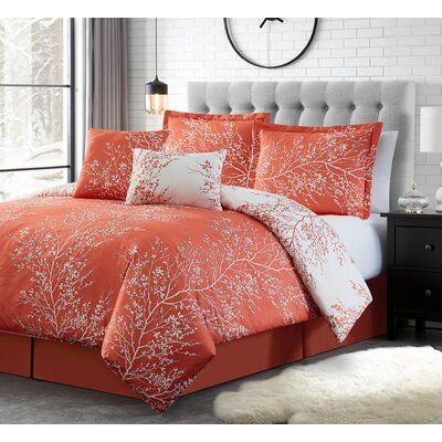 Elliana 6 Piece Reversible Comforter Set Size King Color Coral White Coral Bedding Comforter Sets Comforters Cozy