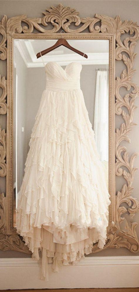 Vintage Layers A-line Sweetheart Chiffon Sweep Train Wedding Dress #wedding #lace #vintage