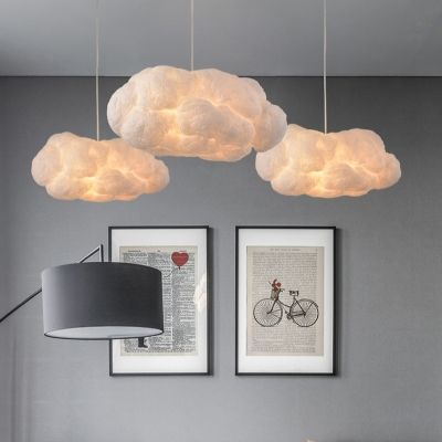 Cloud Shape Pendant Light Contemporary Cotton Decorative Hanging