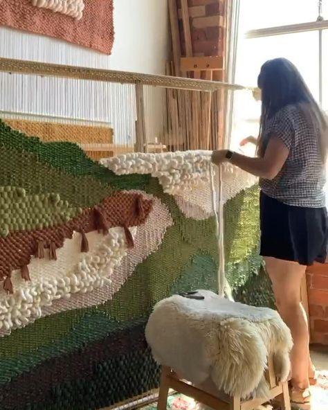 Maryanne moodie weaving in her studio