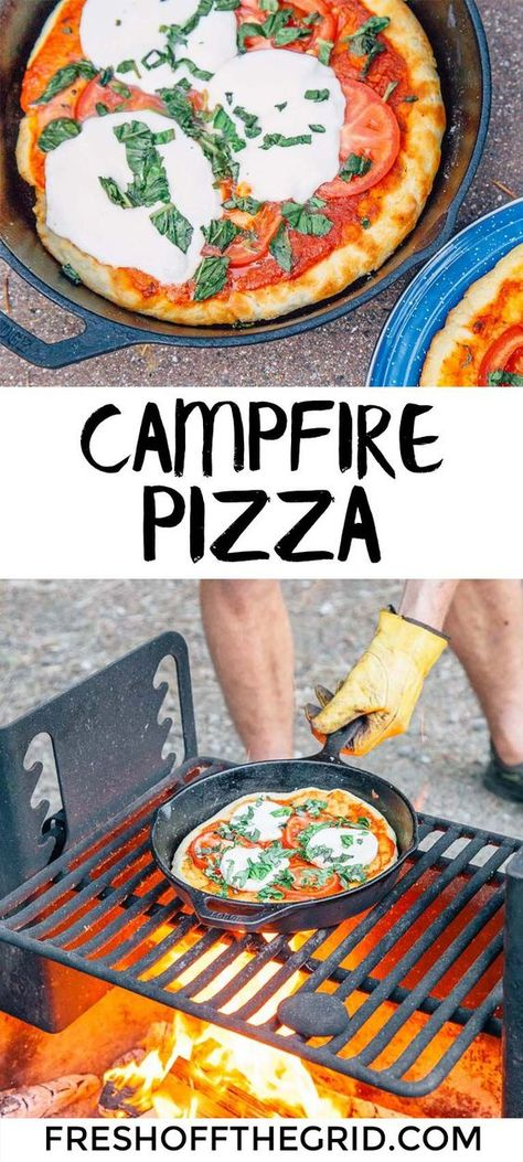 Pizza Make pizza night a new camping tradition! Learn how to make this easy camping pizza in a cast iron skillet right on your campfire.Camping (disambiguation) Camping is a recreational activity. Camping may also refer to: Camping Ideas, Camping Pizza, Camping Snacks, Tent Camping, Family Camping, Camping Cooking, Camping Menu, Camping Stuff, Camping Essentials