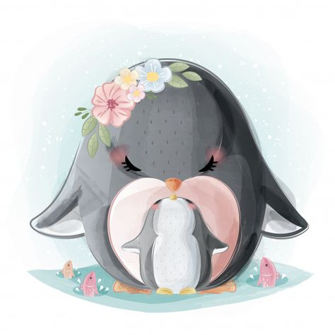 Cute mommy and baby penguin Premium Vector | Free Vector #Freepik #vector #freewatercolor #freebirthday #freewinter #freebaby