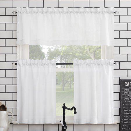 Mainstays Solid 3 Piece Kitchen Curtain Set Walmart Com Curtains Kitchen Curtain Sets Kitchen Curtains