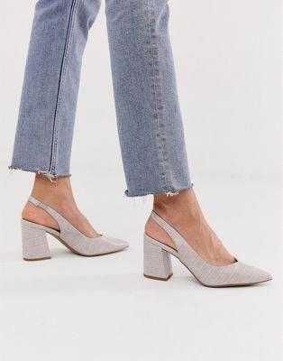 New Look croc point sling back heel in
