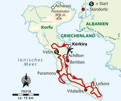 Karte Der Reise 7931r Reisen Korfu Griechenland Korfu