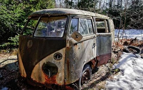 """this is some Hippy's old dream from the days of """" the dead"""" Volkswagon Bus    Amazing Pics - Worlds Most Amazing Pictures: Amazing Rusted Cars"""