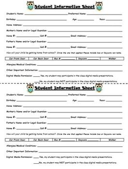 Student Information And Emergency Contact Card By The Polka Dot Stop Teachers Pay Teachers Student Information Contact Card Student Info