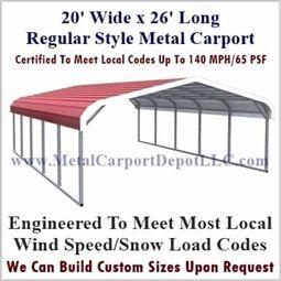 20 X 26 Metal Carport Regular Style Roof Sale Price 1 595 00 In 2020 Metal Carports Carport Pergola Carport