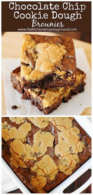 Chocolate Chip Cookie Dough Brownies - and the great ganache debate #chocolatechipcookiedough Chocolate Chip Cookie Dough Brownies ~ Two classic favorites in one pan, what's not to love? You won't be able to resist the deliciousness! #cookiedough #brownies #brownierecipes #chocolatechipcookies  www.thekitchenismyplayground.com