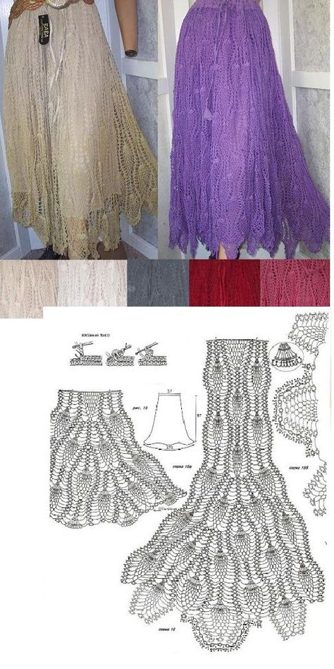 crochet pineapple skirt - you repeat the motif as many times as you want, the more motifs~the more froufrous!!!