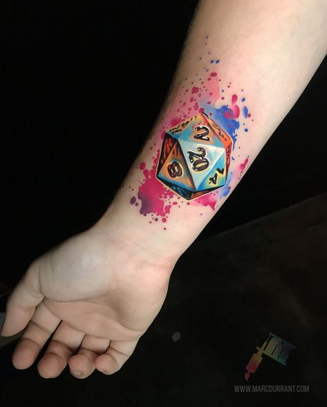 20 sided dice done by me, Marc Durrant, for a client at Hidden Los Angeles Tattoo