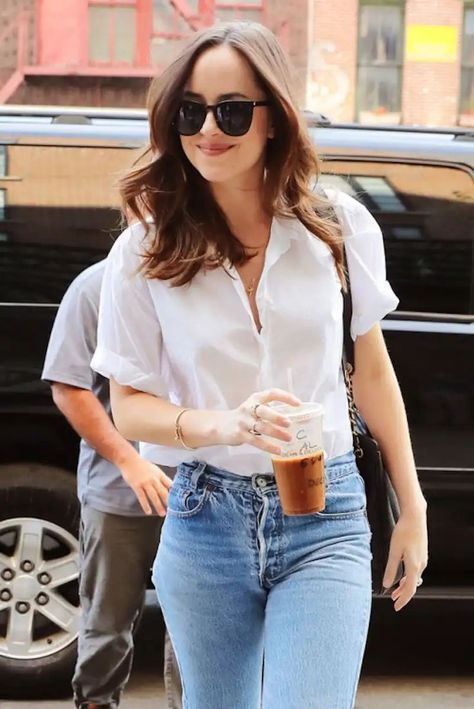 white button down shirt and jeans