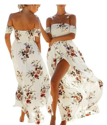 Dluga Letnia Sukienka Boho Kwiaty 61553 Biala S 36 6931344409 Oficjalne Archiwum Allegro Lovely Clothes Dresses Fashion