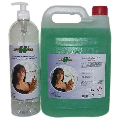 Aloe Vera – Händedesinfektion Gel – AKTION 5 L + 1 Lleer Flasche GRATIS