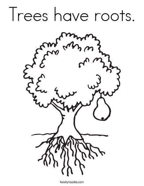 Image Result For Colouring Picture Tree With Roots Tree Coloring Page Fruit Trees Coloring Pages