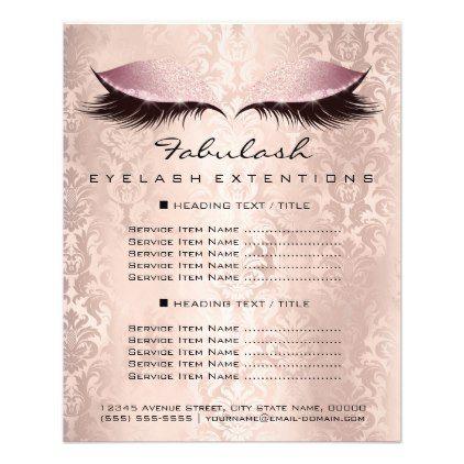 Makeup Artist Beauty Wellness Flyer Pink Damask Zazzle Com