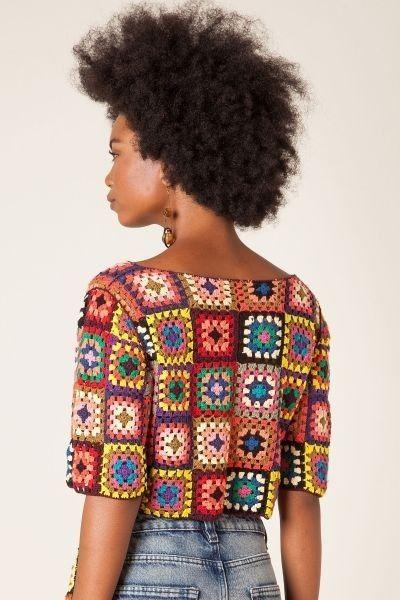 Crochet patchwork crop top